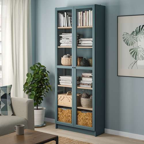 BILLY - bookcase with glass-doors, grey-turquoise/white stained oak veneer | IKEA Hong Kong and Macau - PE803736_S4