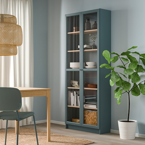 BILLY - bookcase with glass-doors, grey-turquoise/white stained oak veneer | IKEA Hong Kong and Macau - PE803739_S4
