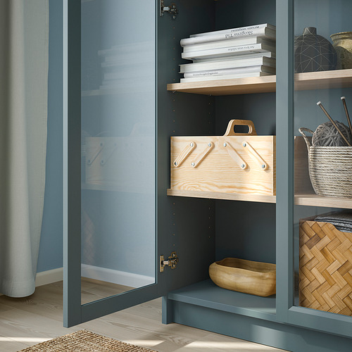 BILLY - bookcase with glass-doors, grey-turquoise/white stained oak veneer | IKEA Hong Kong and Macau - PE803738_S4