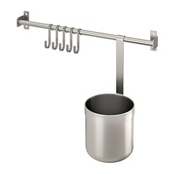 KUNGSFORS - rail with 5 hooks and 1 container, stainless steel | IKEA Hong Kong and Macau - PE748361_S3