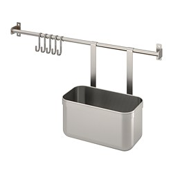 KUNGSFORS - rail with 5 hooks and 1 container, stainless steel | IKEA Hong Kong and Macau - PE748362_S3