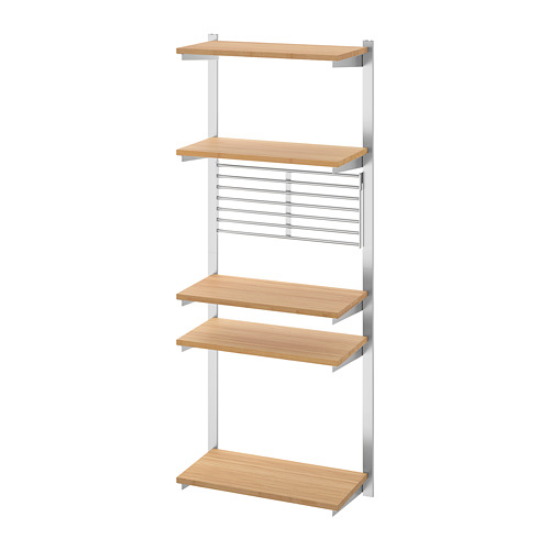 KUNGSFORS - suspension rail with shelf/wll grid, stainless steel/bamboo | IKEA Hong Kong and Macau - PE748365_S4