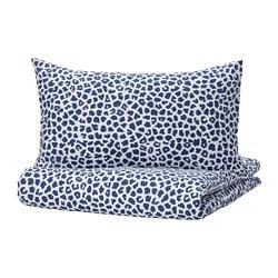 KVASTFIBBLA - 被套連2個枕袋, 白色/深藍色, 200x200/50x80 cm | IKEA 香港及澳門 - PE803776_S3