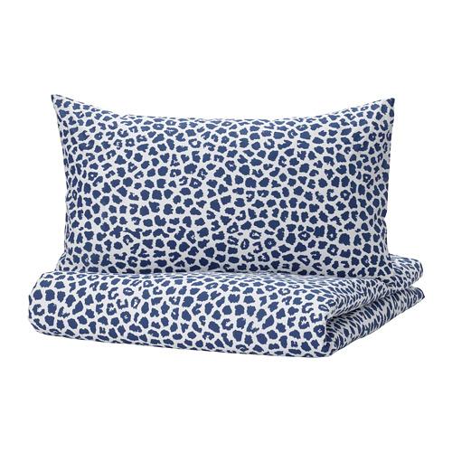 KVASTFIBBLA - 被套連2個枕袋, 白色/深藍色, 240x220/50x80 cm   IKEA 香港及澳門 - PE803776_S4