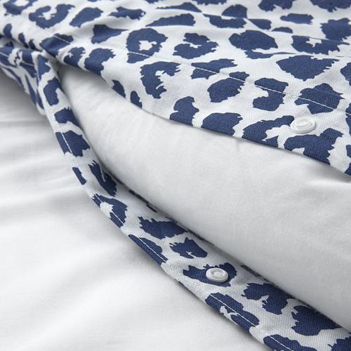 KVASTFIBBLA - 被套連2個枕袋, 白色/深藍色, 240x220/50x80 cm   IKEA 香港及澳門 - PE803772_S4