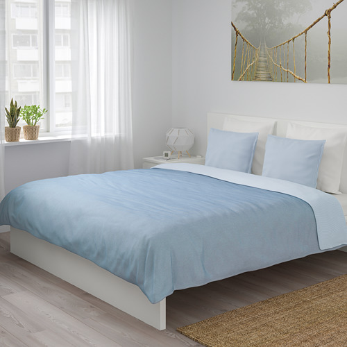 BLÅVINDA - 被套連2個枕袋, 淺藍色, 240x220/50x80 cm    IKEA 香港及澳門 - PE748522_S4