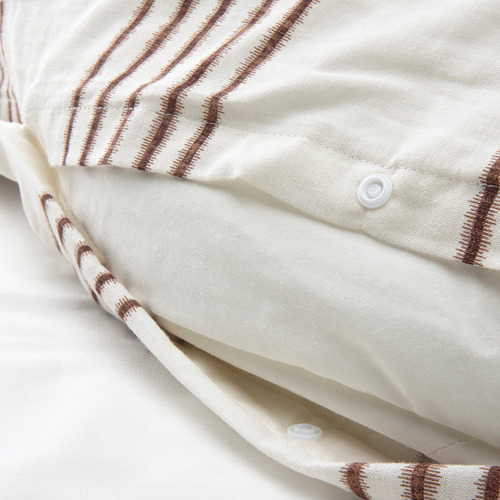 SMALFRÄKEN - duvet cover and 2 pillowcases, white/brown, 240x220/50x80 cm | IKEA Hong Kong and Macau - PE803792_S4