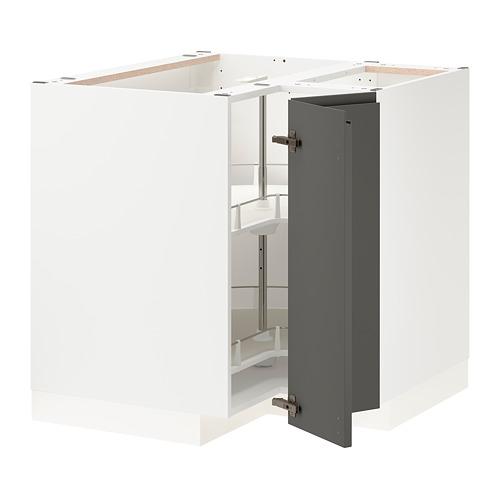 METOD - corner base cabinet with carousel, white/Voxtorp dark grey | IKEA 香港及澳門 - PE803943_S4
