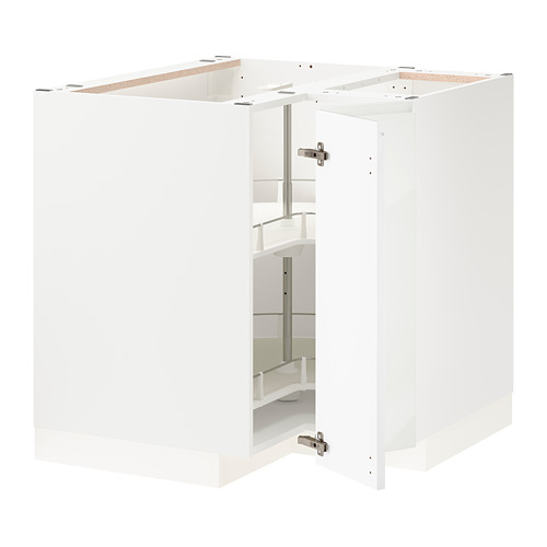 METOD - corner base cabinet with carousel, white/Voxtorp high-gloss/white | IKEA Hong Kong and Macau - PE803945_S4
