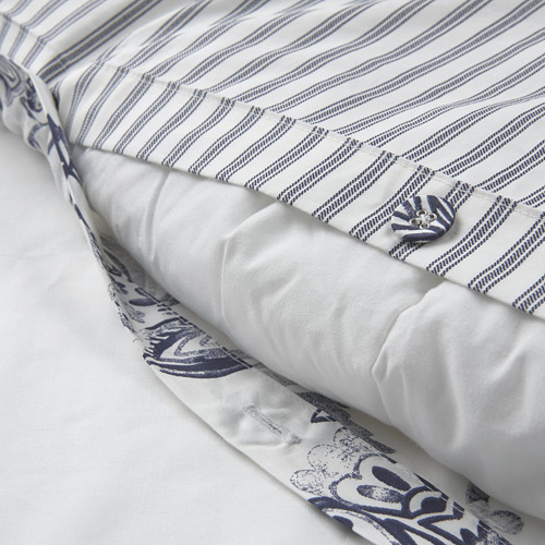 JUNIMAGNOLIA - duvet cover and pillowcase, white/dark blue, 150x200/50x80 cm   IKEA Hong Kong and Macau - PE803972_S4