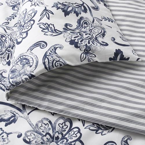 JUNIMAGNOLIA - duvet cover and pillowcase, white/dark blue, 150x200/50x80 cm   IKEA Hong Kong and Macau - PE803975_S4