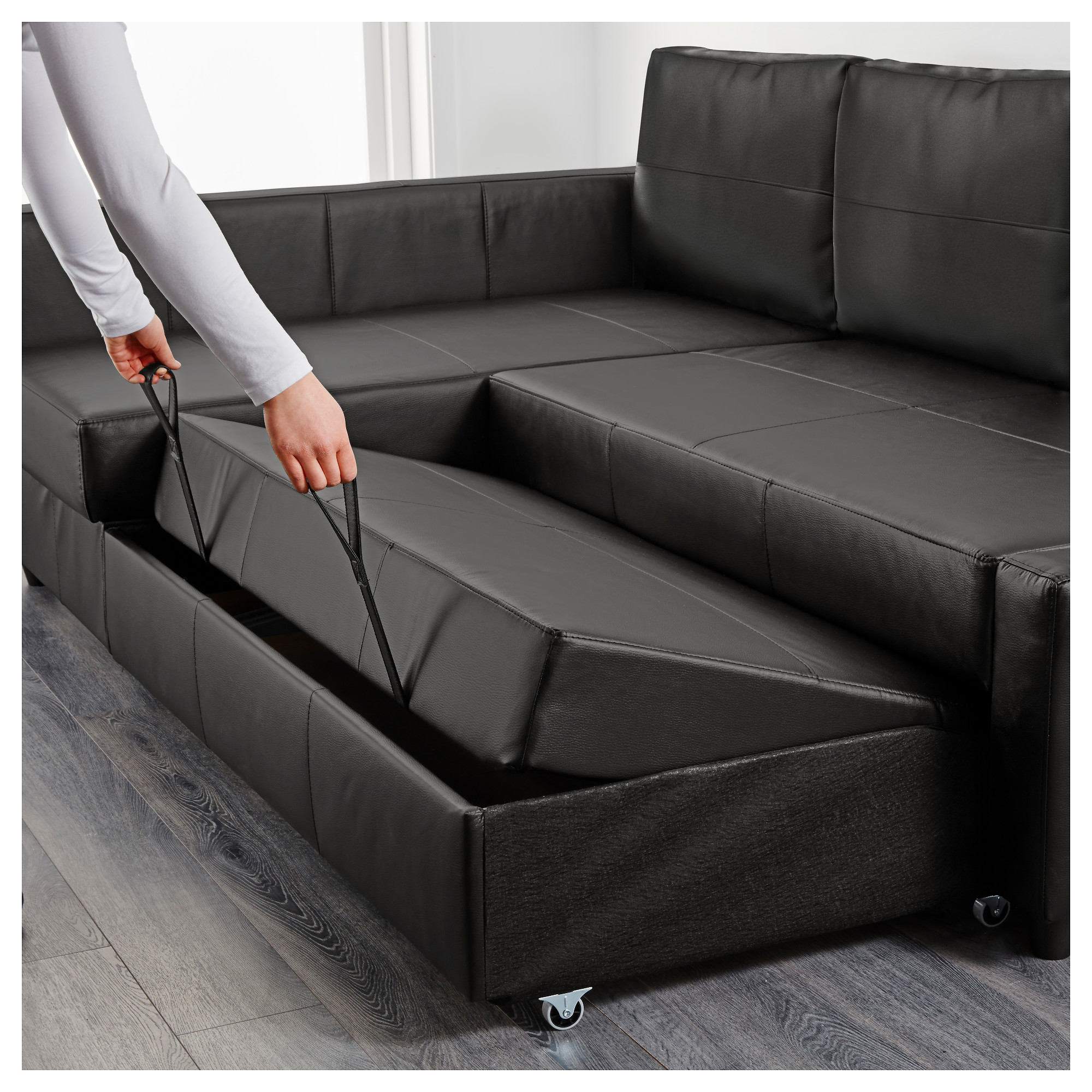 FRIHETEN - corner sofa-bed with storage, Bomstad black ...