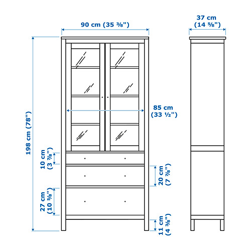 HEMNES - glass-door cabinet with 3 drawers, white stain/light brown | IKEA Hong Kong and Macau - PE660369_S4