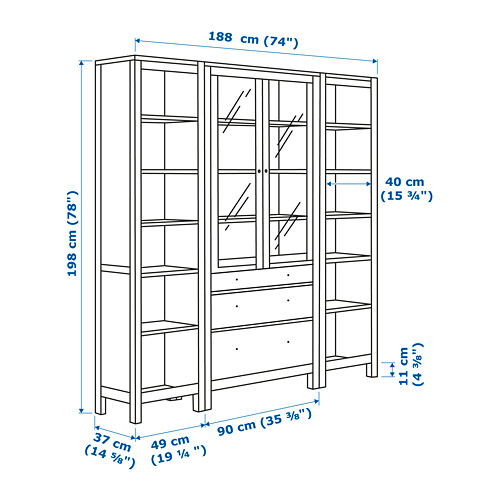 HEMNES - storage combination w doors/drawers, light brown/clear glass | IKEA Hong Kong and Macau - PE660477_S4