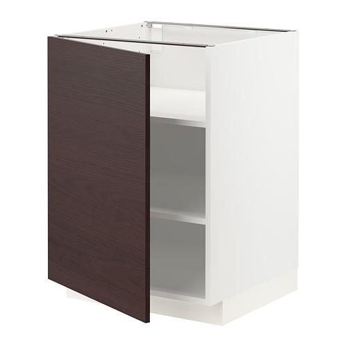 METOD - base cabinet with shelves, white Askersund/dark brown ash effect | IKEA Hong Kong and Macau - PE780779_S4