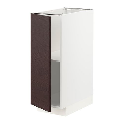 METOD - 地櫃連層板, 白色 Askersund/深褐色 梣木紋   IKEA 香港及澳門 - PE780788_S4