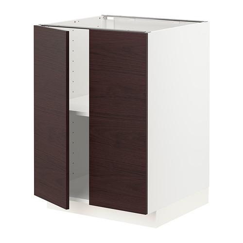 METOD - 地櫃連層板/門一對, 白色 Askersund/深褐色 梣木紋 | IKEA 香港及澳門 - PE780794_S4