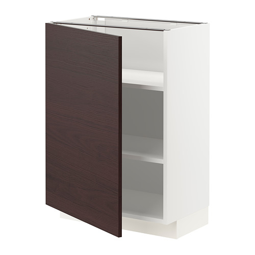 METOD - base cabinet with shelves, white Askersund/dark brown ash effect | IKEA Hong Kong and Macau - PE780756_S4