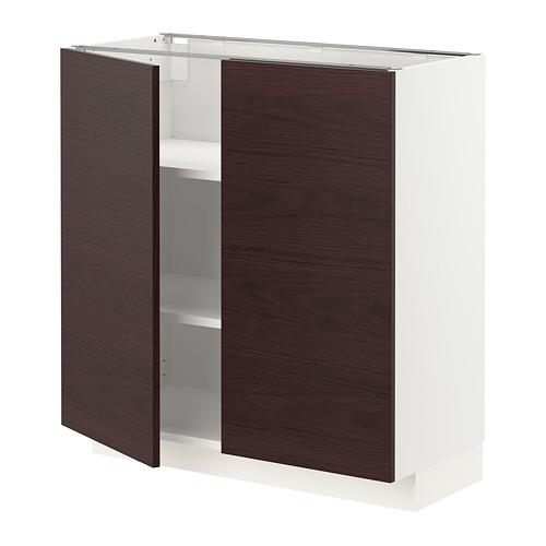 METOD - 地櫃連層板/門一對, 白色 Askersund/深褐色 梣木紋 | IKEA 香港及澳門 - PE780811_S4