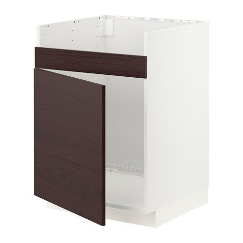 METOD - base cab f HAVSEN single bowl sink, white Askersund/dark brown ash effect | IKEA Hong Kong and Macau - PE780796_S4