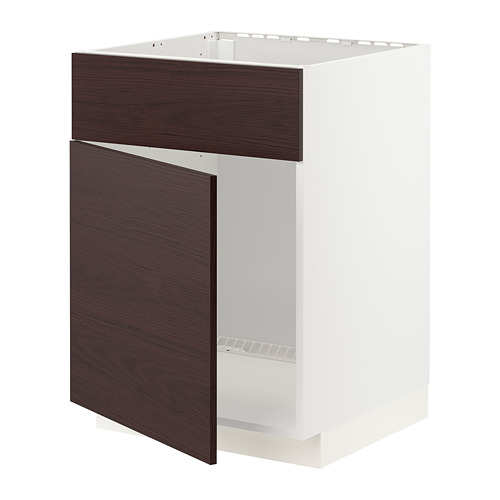 METOD - 星盆用地櫃連門/面板, white Askersund/dark brown ash effect   IKEA 香港及澳門 - PE780807_S4