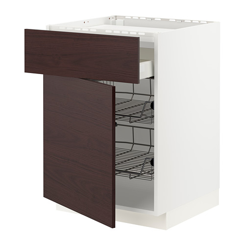 METOD base cab f hob/drawer/2 wire bskts