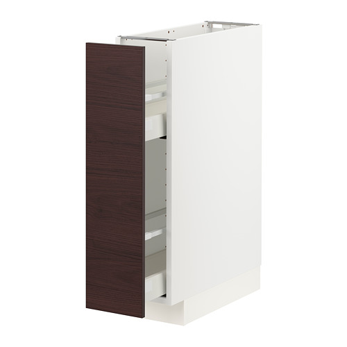 METOD/MAXIMERA - base cabinet/pull-out int fittings, white Askersund/dark brown ash effect | IKEA Hong Kong and Macau - PE780829_S4