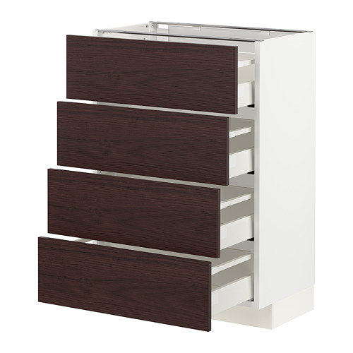 METOD/MAXIMERA - base cab 4 frnts/4 drawers, white Askersund/dark brown ash effect | IKEA Hong Kong and Macau - PE780833_S4