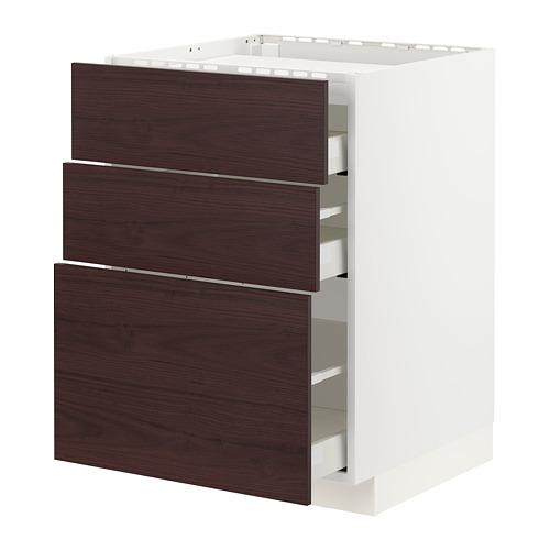 METOD/MAXIMERA - base cab f hob/3 fronts/3 drawers, white Askersund/dark brown ash effect | IKEA Hong Kong and Macau - PE780837_S4