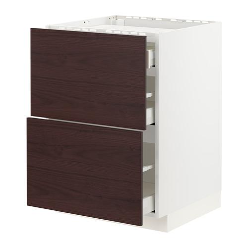 METOD/MAXIMERA - base cab f hob/2 fronts/3 drawers, white Askersund/dark brown ash effect | IKEA Hong Kong and Macau - PE780758_S4