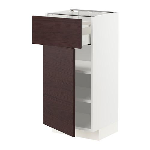 METOD/MAXIMERA - base cabinet with drawer/door, white Askersund/dark brown ash effect | IKEA Hong Kong and Macau - PE780785_S4