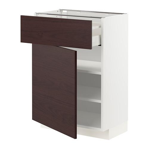 METOD/MAXIMERA - 地櫃連抽屜/門, white Askersund/dark brown ash effect | IKEA 香港及澳門 - PE780765_S4