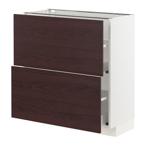 METOD/MAXIMERA - 兩層抽屜地櫃, white Askersund/dark brown ash effect | IKEA 香港及澳門 - PE780768_S4