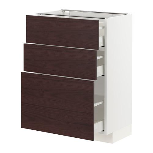 METOD/MAXIMERA - base cabinet with 3 drawers, white Askersund/dark brown ash effect | IKEA Hong Kong and Macau - PE780772_S4