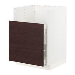 METOD/MAXIMERA - BREDSJÖN星盆用地櫃/1面板/2抽屜, white Askersund/dark brown ash effect | IKEA 香港及澳門 - PE780810_S3