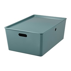 KUGGIS - storage box with lid, turquoise | IKEA Hong Kong and Macau - PE804731_S3