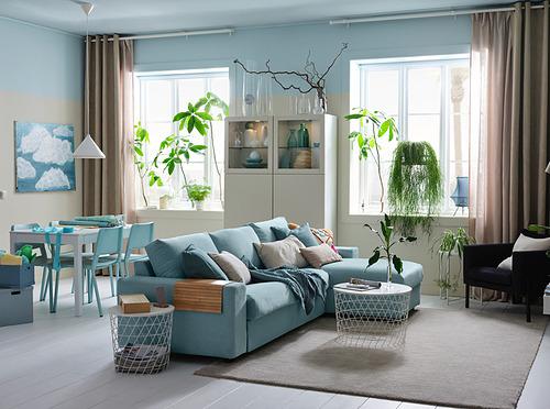 VIMLE - 3-seat sofa with chaise longue, with wide armrests Saxemara/light blue | IKEA Hong Kong and Macau - PH177958_S4