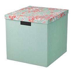 TJENA - 連蓋貯物盒, 花/淺綠色 | IKEA 香港及澳門 - PE804736_S3