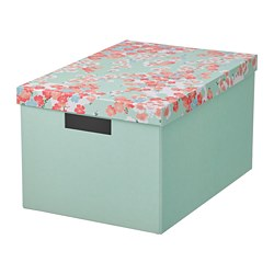 TJENA - storage box with lid, flower/light green | IKEA Hong Kong and Macau - PE804746_S3