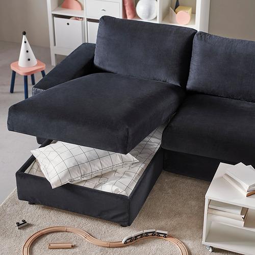 VIMLE - 三座位梳化連躺椅, with wide armrests Saxemara/black-blue | IKEA 香港及澳門 - PH182197_S4