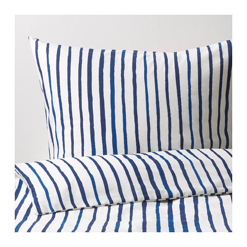 SÅNGLÄRKA - 被套枕袋套裝, 條紋/藍色 白色 | IKEA 香港及澳門 - PE709373_S4
