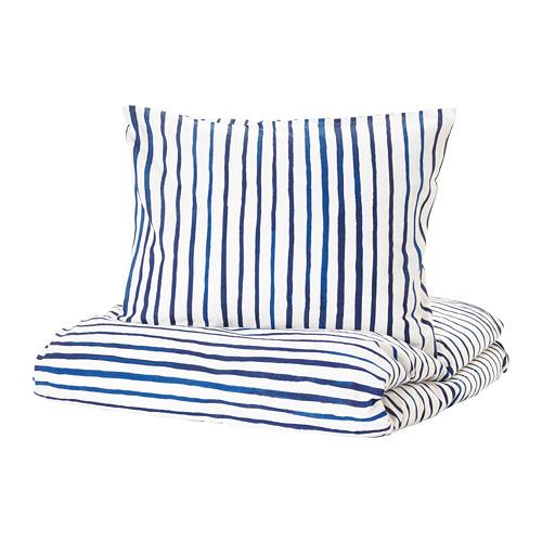 SÅNGLÄRKA - 被套枕袋套裝, 條紋/藍色 白色 | IKEA 香港及澳門 - PE709372_S4
