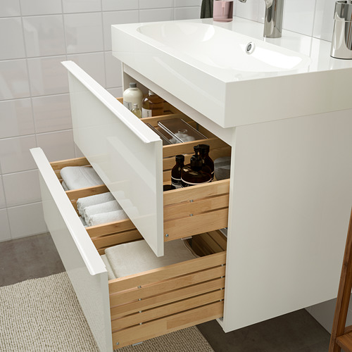 BRÅVIKEN/GODMORGON - bathroom furniture, set of 5, high-gloss white/Brogrund tap | IKEA Hong Kong and Macau - PE748925_S4