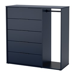 NORDMELA - chest of drawers with clothes rail, black-blue | IKEA Hong Kong and Macau - PE711620_S3