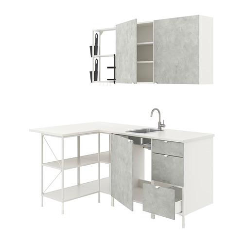 ENHET - 角位廚房, 白色/仿混凝土 | IKEA 香港及澳門 - PE775513_S4