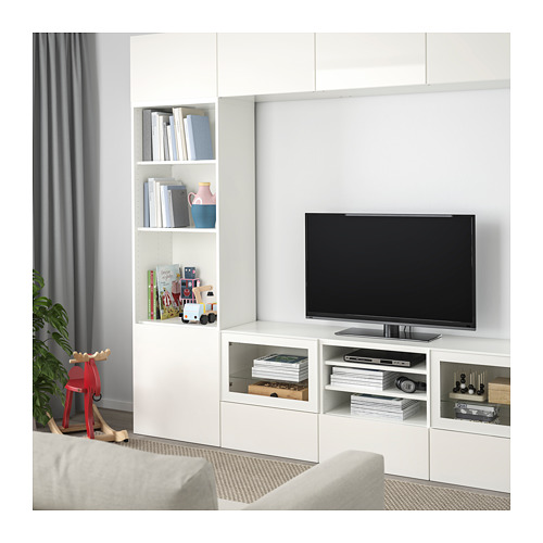 BESTÅ - TV storage combination/glass doors, white/Selsviken high-gloss/white clear glass | IKEA Hong Kong and Macau - PE709729_S4