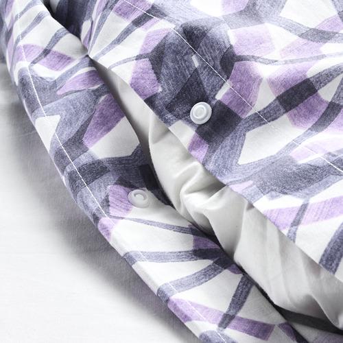 VATTENFRÄNE 被套連2個枕袋, 白色/紫色, 200x200/50x80 cm