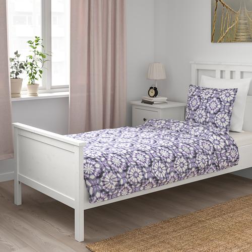VATTENFRÄNE 被套枕袋套裝, 白色/紫色, 150x200/50x80 cm