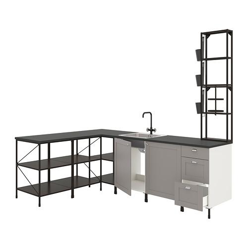 ENHET - 角位廚房, 炭黑色/灰色 框架   IKEA 香港及澳門 - PE775539_S4