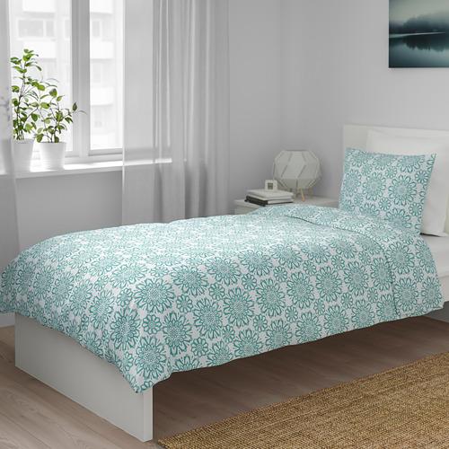 ÄNGSSALVIA 被套連2個枕袋, 白色/湖水綠色, 240x220/50x80 cm
